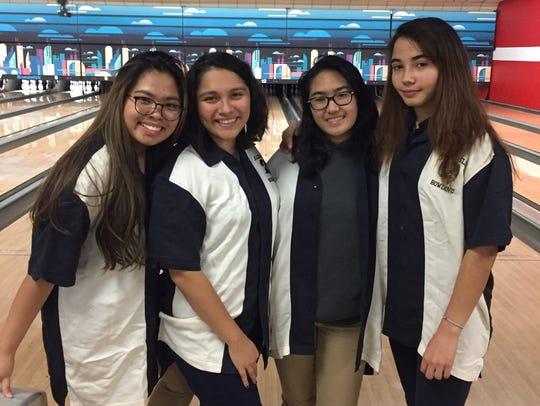 Belleville girls bowling: (from left) Denise Cortez,