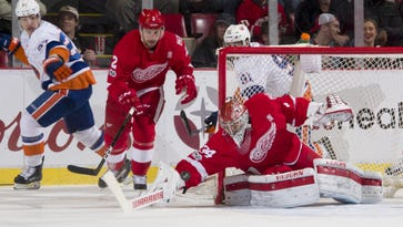 Detroit goalie Petr Mrazek makes a save in the first period.