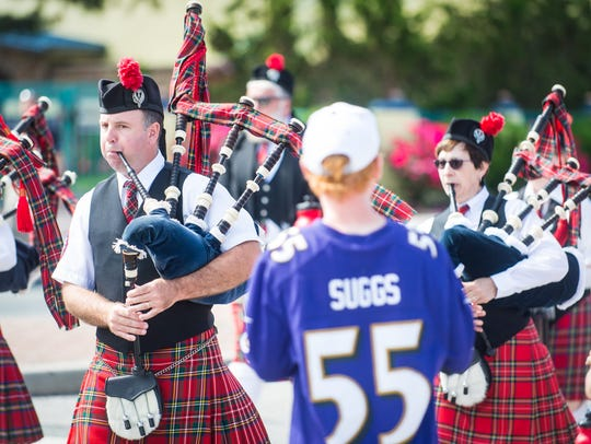 Bagpipes make their way down Baltimore Ave during the
