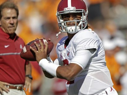 Jalen Hurts accounted for four touchdowns in his first college game in a win over USC last season.