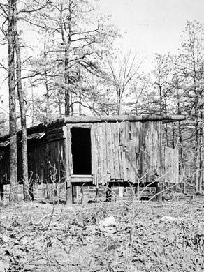 1974: Steel shelter covered with bark at Great Adventure