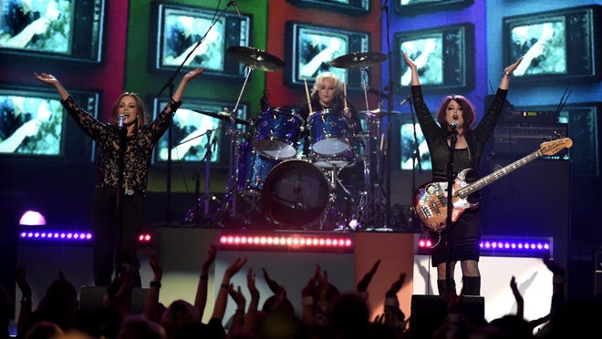 """Belinda Carlisle (from left), Gina Schock and Abby Travis of the The Go-Go's perform """"We Got The Beat"""" at the Billboard Music Awards at the T-Mobile Arena on May 22 in Las Vegas."""
