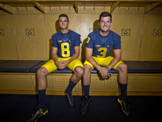 John O'Korn, left, and Wilton Speight at 2016 Michigan football media day.