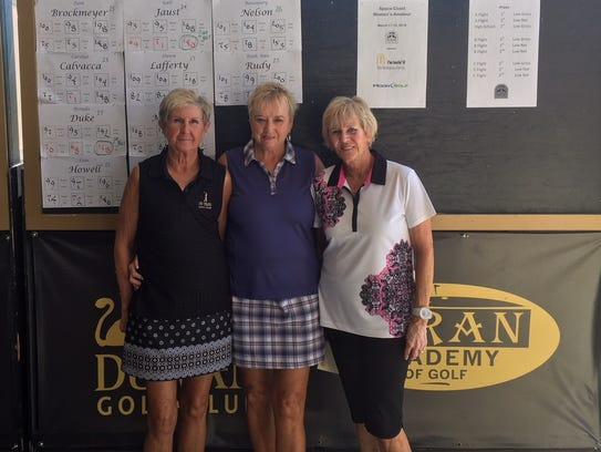 C flight winners Brenda Duke, Carol Mecenko and Gail