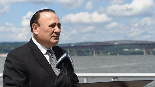 New York State Assemblyman Frank Skartados speaks during a press conference at Long Dock Park in Beacon on Friday.  Skartados organized Friday's press conference in response to the proposed Hudson River anchorages which he believes will endanger the region.