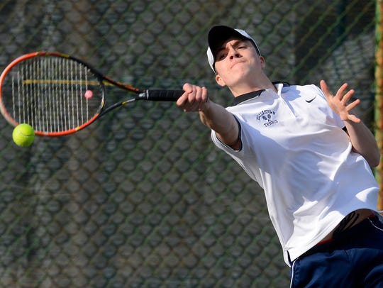 Dallastown's Sebastian May, seen here in a file photo, earned a straight-set win at No. 3 singles on Tuesday against Cedar Crest.