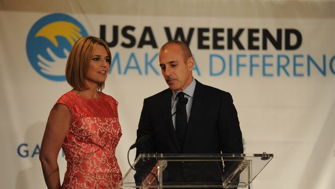 Savannah Guthrie and Matt Lauer at USA Weekend's Make a Difference Day luncheon on April 10, 2014 in Washington.