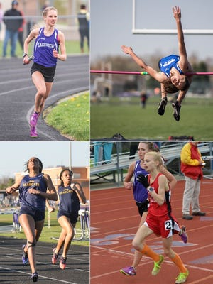 Clockwise fom top: Lakeview's Maggie Farrell, Harper Creek's Charley Andrews, St. Philip's Ava Strenge, Battle Creek Central's Ayrianna Smith.