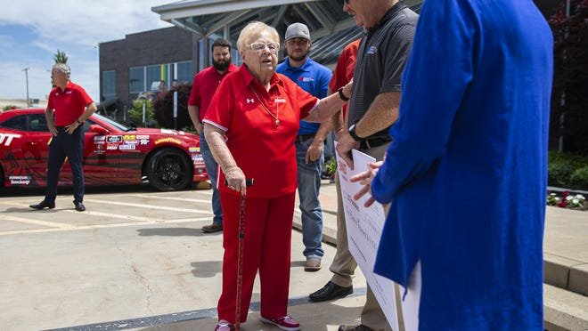 "Evelyn Brandt Thomas, center, talks with Bill Harmon, Lincoln Land Community College agronomy professor and ag program coordinator, and Dr. Charlotte Warren, President of LLCC, after The Brandt Foundation donated $100,000 to the LLCC Foundation at the Brandt global headquarters, Monday, June 29, 2020, in Springfield, Ill. ""Ag has been my whole life,"" said Thomas. ""We want to make sure that young people come out and get an education so that they can continue to keep the agriculture industry alive and well."" The Brandt Foundation gift of $100,000 to the LLCC Foundation will create a legacy of support for the LLCC agriculture program through an endowed scholarship fund. The first two scholarships awarded through the new Brandt Foundation Scholarships will be awarded to LLCC students pursuing an associate in applied science degree in precision agronomy/fertilizer or a certificate in fertilizer."
