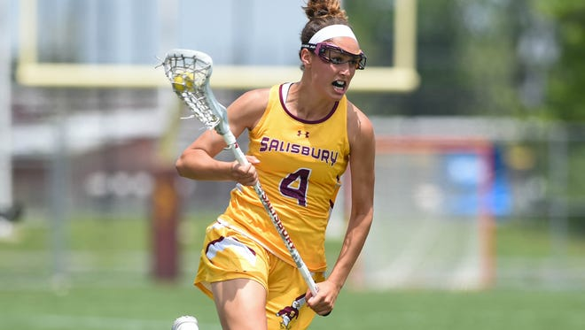 Salisbury University's Gabrille Mongno hustles down the field against Trinity (Conn.) College on Sunday, May 20, 2018, during the NCAA Division III lacrosse quarterfinals at Seagull Stadium.