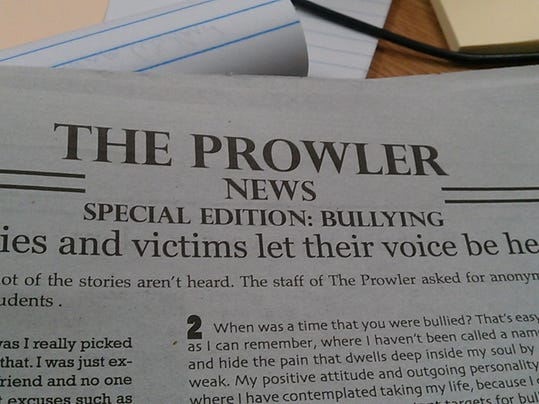 Central York High School's January student newspaper had a special section on bullying.
