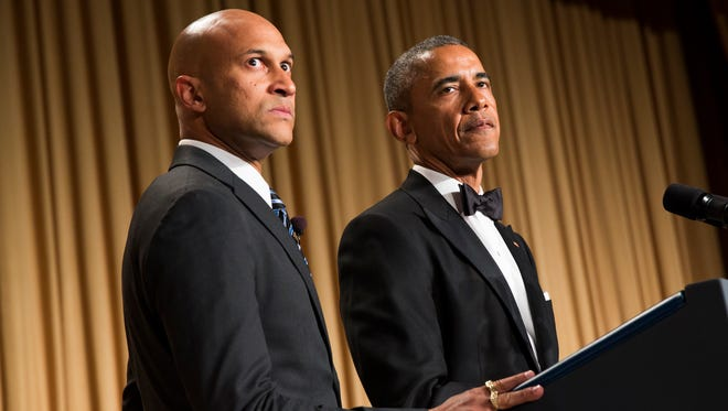 """President Barack Obama, right, brings out actor Keegan-Michael Key from Key & Peele to play the part of """"Luther, President Obamaís anger translator"""" during his remarks at the White House Correspondents' Association dinner at the Washington Hilton on Saturday in Washington."""