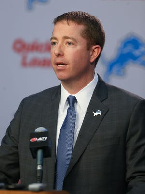 The Detroit Lions' new GM Bob Quinn talks to reporters January 11, 2016 in Allen Park.