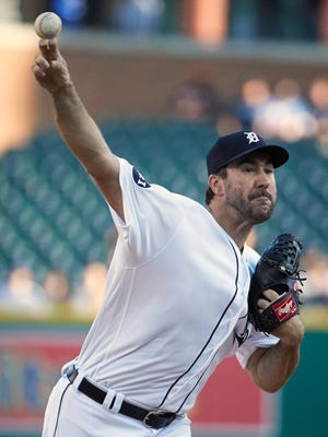 Tigers pitcher Justin Verlander (35) pitches in the first inning on Monday, July 24, 2017, at Comerica Park.