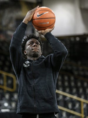 Oakland University guard Kendrick Nunn, of Chicago, shoots during practice at the Athletics Center O'Rena in Auburn Hills on Feb. 22, 2018.