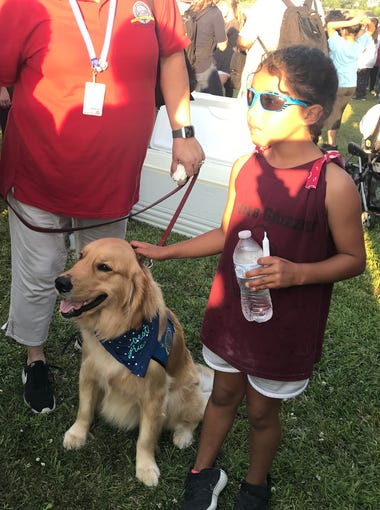 Gabriel, a trained comfort dog from Houston, receives pets from a young girl at a vigil for the shooting victims of Santa Fe High School on May 18, 2018.