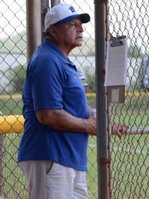 Bainbridge Island Little League 13U All-Stars coach Chuck Cox looks out on the field during the West Regional tournament in Nogales, Arizona. The team was the first from Bainbridge to qualify for regionals since 2011.