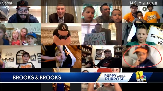 Baltimore Orioles legend Brooks Robinson (Top row, second from left) virtually meeting kids named after him in a special 83rd birthday Zoom party, including Brooks Robinson Streeter-Zervitz, the writer's son (bottom row, right)