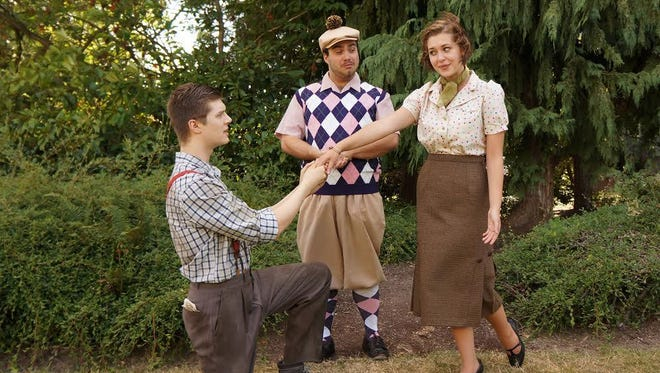 """Zachery Warner, left, as Orlando, Oliver Bergh as Touchstone and Julia Sjakous as Rosalind will star in Valley Shakespeare Company's """"As You Like It."""" The outdoor production will be at Rice Auditorium in Monmouth July 29-Aug. 1."""
