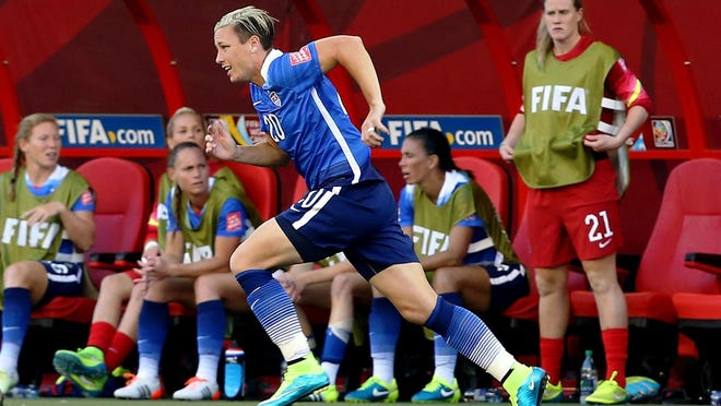 United States forward Abby Wambach enters the game as a substitute during the second half against Sweden on June 12, 2015.