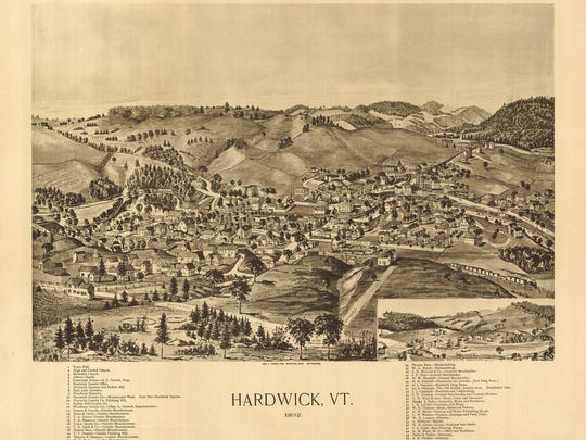 A view of Hardwick, home of the Woodbury Granite Company, in 1892.