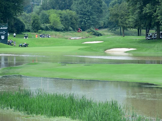 Flooded hole #15 at En-Joie Golf Club in Endicott as the 2018 Dick's Sporting Goods Open begins. Wednesday, August 15, 2018.