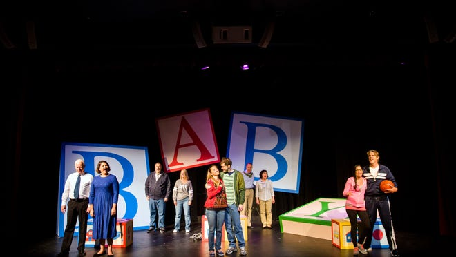 """The actors take the stage during the opening number during a rehearsal of """"Baby"""" on Tuesday, April 24, 2018, at the G&L Theatre at the Community School of Naples."""