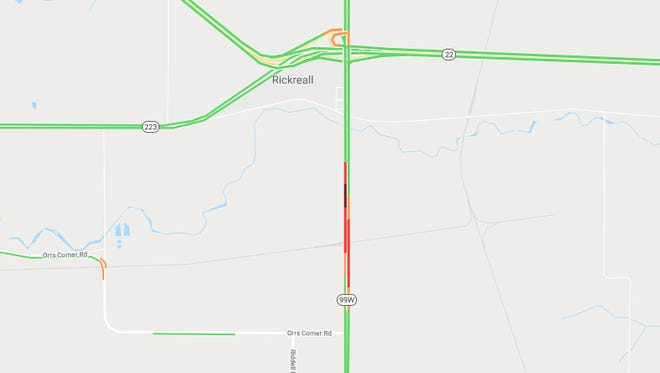 A crash blocked northbound lanes of Highway 99W Tuesday morning.