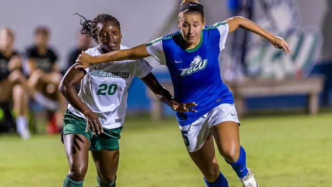 FGCU's Tabby Tindell goes after a loose ball against Stetson during the Eagles' 5-0 A-Sun semi-Final win Friday night.