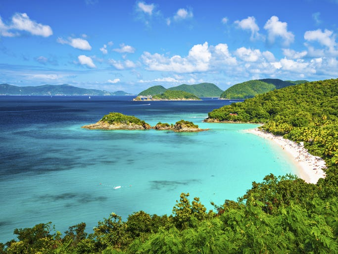 The U.S. Virgin Islands, an unincorporated territory in the Caribbean, is an American paradise in every sense. Pictured here is Trunk Bay on St. John.