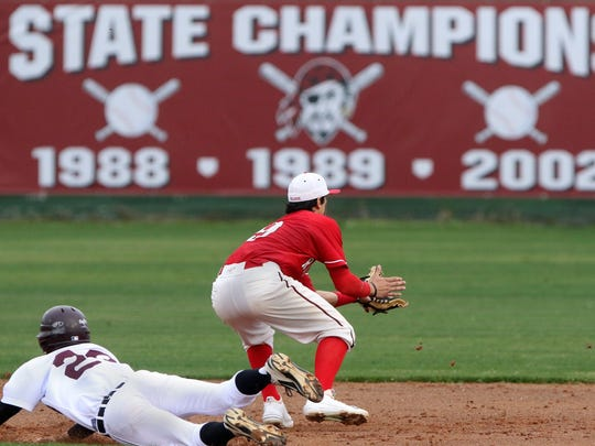 Sinton's John Jacob Perez slides into second with a first inning double as Elias Rodriguez (R) covers for Robstown at Sinton High School in Sinton, Saturday, March 14, 2015.