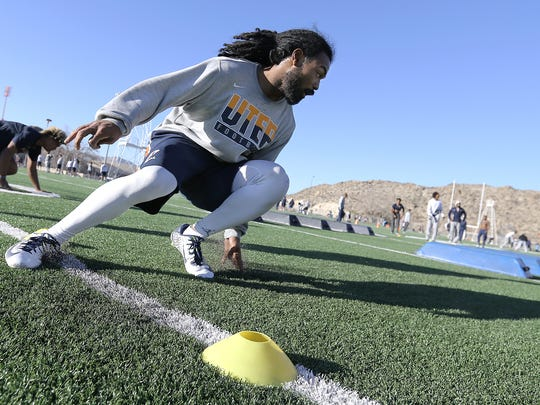 UTEP senior wide receiver Warren Redix runs conditioning and agility drills during the team's final condition day before spring ball begins Monday.
