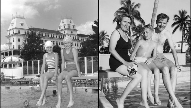 """A publicity photos of young summer swimmers, left, at Wentworth by the Sea Hotel in New Castle during the """"Smith Era"""" ownership that stretched from 1946 to 1982. Margaret and James Barker Smith and son , right, are pictured at their Florida winter resort."""