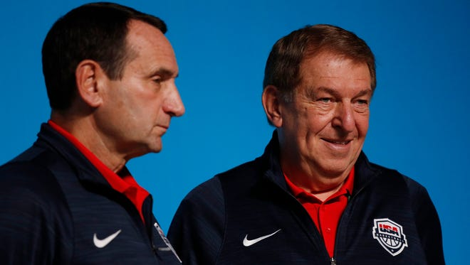 Aug 4, 2016; Rio de Janeiro, Brazil; USA coach Mike Krzyzewski (L) and managing director Jerry Colangelo (R) look on during a press conference during the Rio 2016 Summer Olympic Games at Main Press Center.