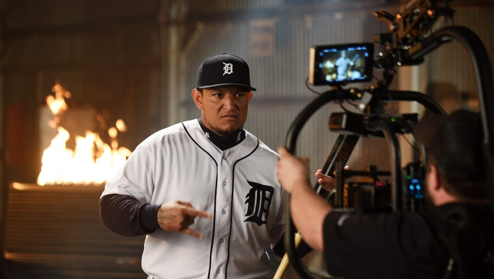 Production crew works with Tigers' Miguel Cabrera on