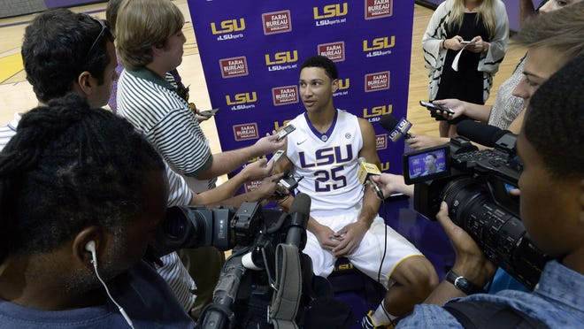 LSU freshman Ben Simmons speaks during media day on Wednesday in Baton Rouge.