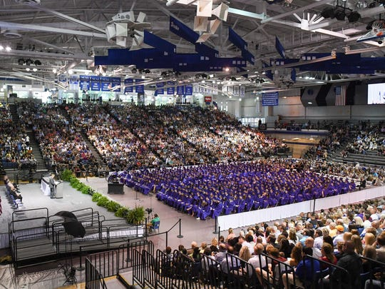 During the Johnston High School graduation at the Drake