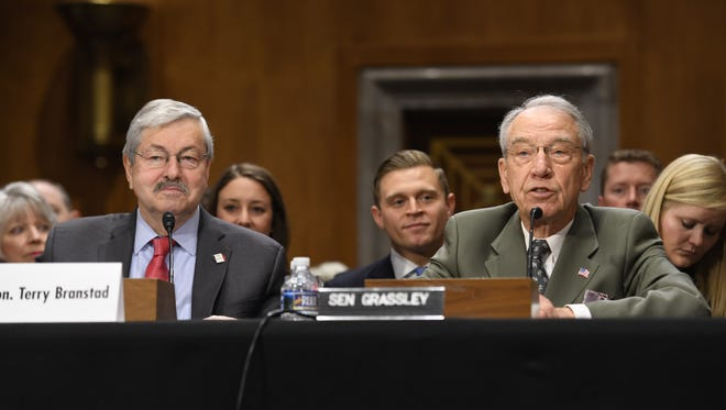 Sen. Chuck Grassley (right) introduces Iowa Gov. Terry Branstad Tuesday, May 2, 2017, during his confirmation hearing with the Senate Foreign Relations Committee in Washington, D.C.