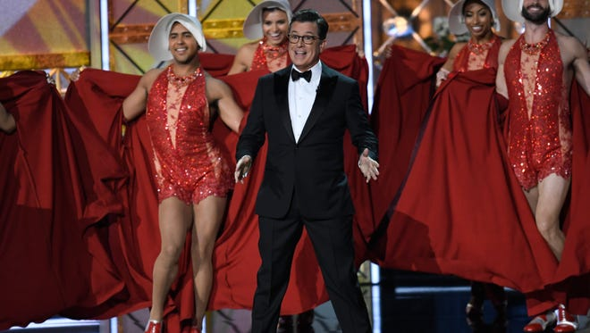 Colbert delivers the opening monologue during the 69th Emmy Awards.