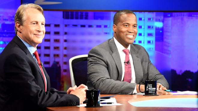 Republican senatorial hopefuls Sandy Pensler, left, and John James settle in on the set of WKAR's Off The Record before a debate moderated by host Tim Skubick.