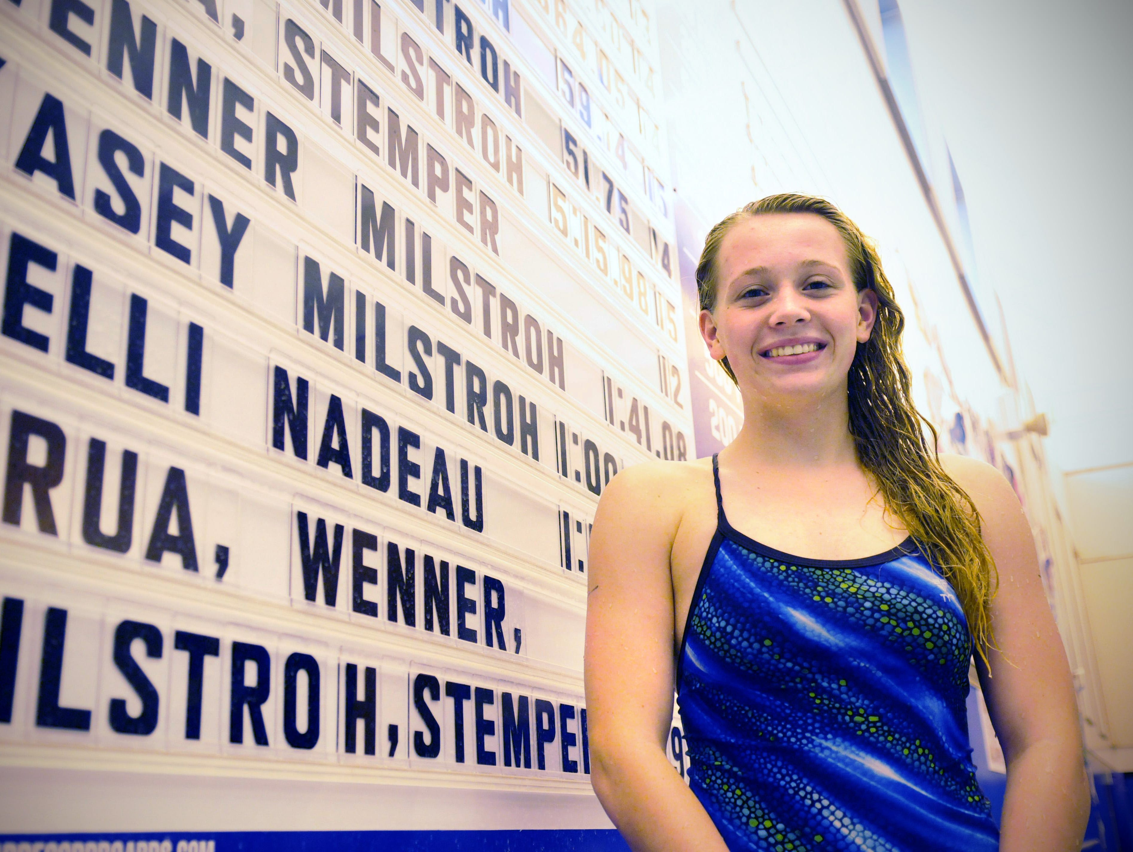 Kasey Milstroh Foley High school swimmer Kasey Milstroch stands next to her times on Sept. 28 at the Foley High School pool.