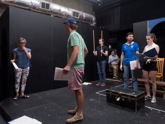 """Director Rebecca Gomez, left, runs rehearsal with actors, from left, Bill Howard, Jackson Burnette, Frank Rosamond, Frank Rosamond Jr., and Brookie Smothers for Theatre Knoxville Downtown's production of """"The Fantasticks"""" on Tuesday, June 26, 2018."""