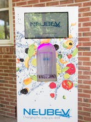 The NeuBev prototype beverage dispenser is pictured in Pensacola on Wednesday, May 10, 2017.