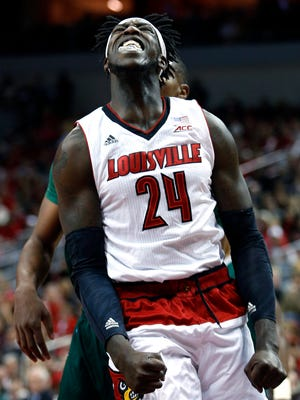 Louisville's Montrezl Harrell after he gets the bucket and draws a foul. Nov. 26, 2014