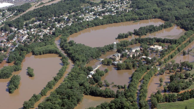 Flooding in Manville caused by hurricane Irene.