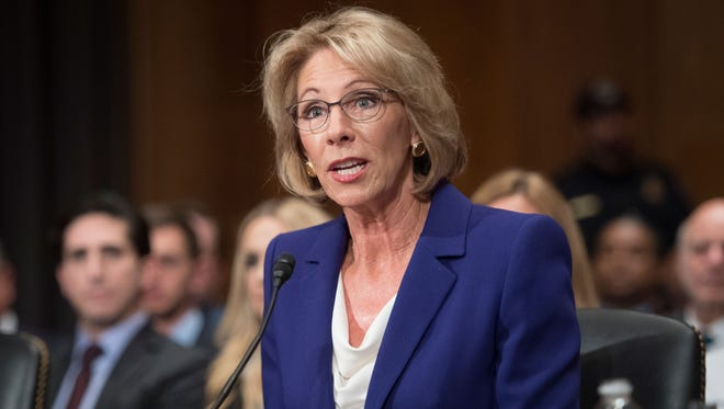Education Secretary-designate Betsy DeVos testifying on Capitol Hill in Washington, Tuesday, Jan. 17, 2017, at her confirmation hearing before the Senate Health, Education, Labor and Pensions Committee.