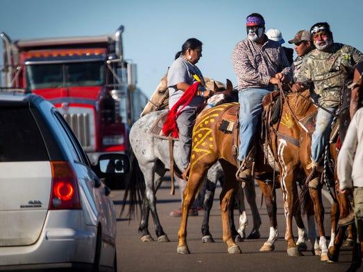 Crow Creek Sioux Tribe chairman Brandon Sazue leads