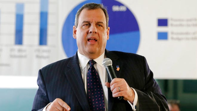 New Jersey Gov. Chris Christie addresses a town hall meeting in Moorestown in February 2015.
