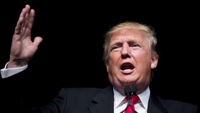 Republican presidential candidate Donald Trump speaks at a campaign event Sunday, Feb. 21, 2016, in Atlanta.