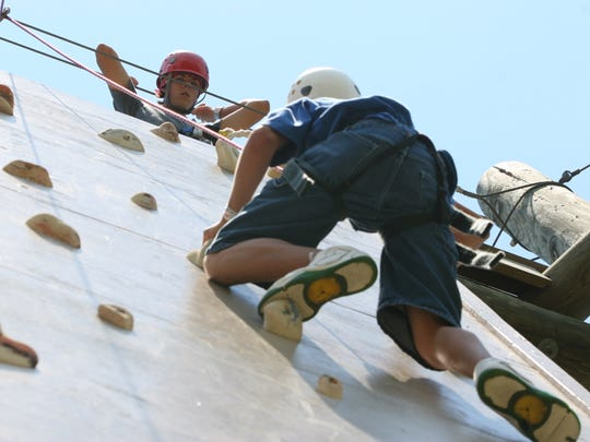 A climbing wall is among activities campers can enjoy at Camp Paradise Valley.